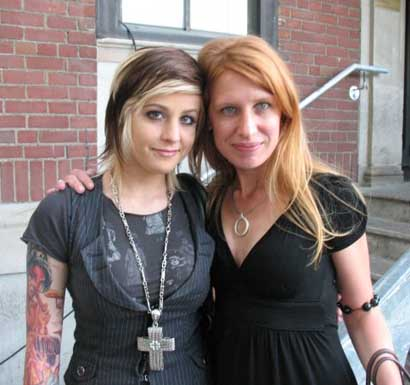 Pictured above is Carra Faye (left) from Shiny Toy Guns, and my sister D.